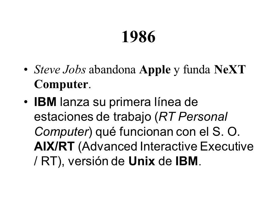 1986 Steve Jobs abandona Apple y funda NeXT Computer.