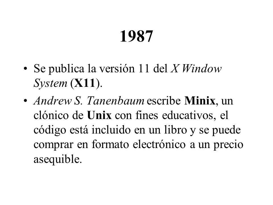 1987 Se publica la versión 11 del X Window System (X11).