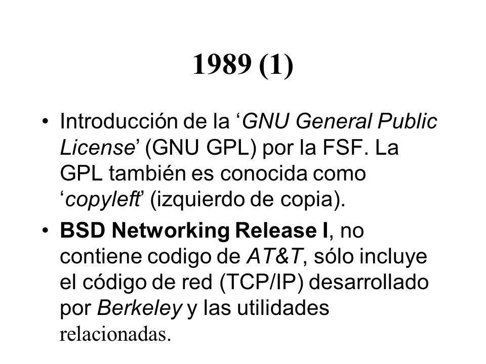 1989 (1) Introducción de la 'GNU General Public License' (GNU GPL) por la FSF. La GPL también es conocida como 'copyleft' (izquierdo de copia).