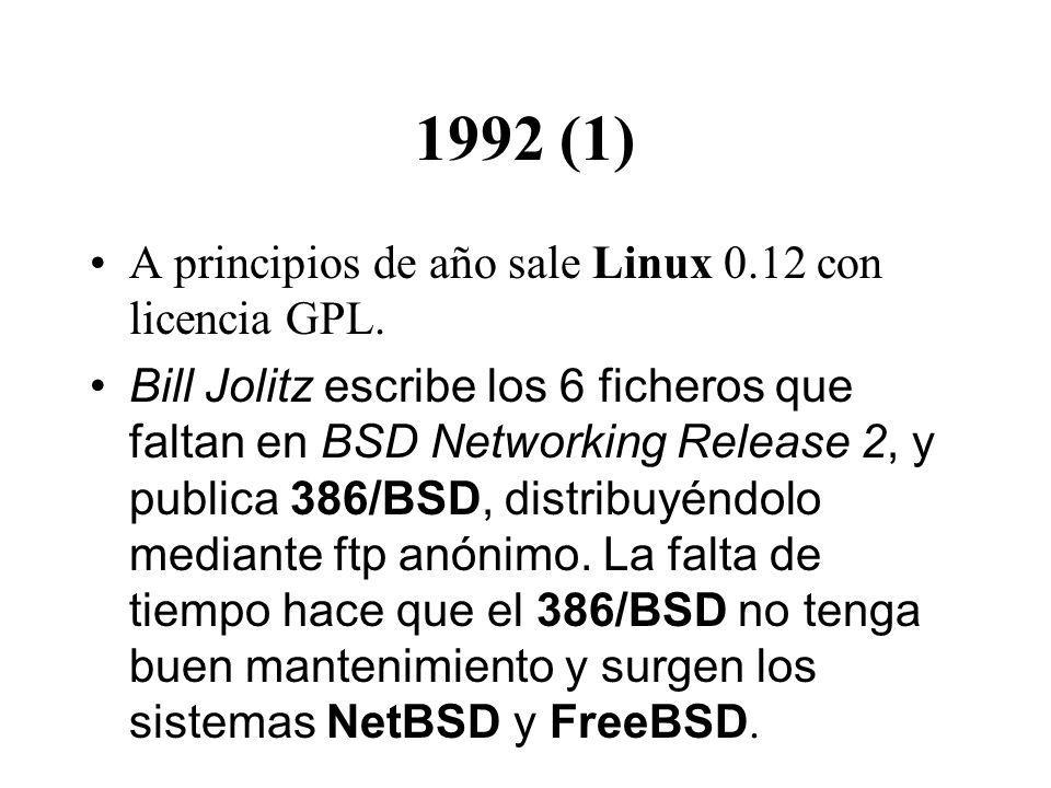 1992 (1) A principios de año sale Linux 0.12 con licencia GPL.