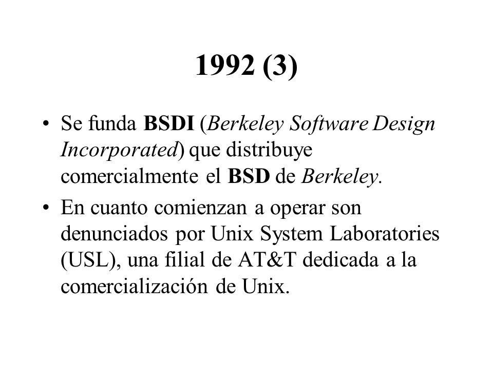 1992 (3) Se funda BSDI (Berkeley Software Design Incorporated) que distribuye comercialmente el BSD de Berkeley.