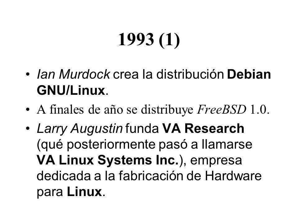 1993 (1) Ian Murdock crea la distribución Debian GNU/Linux.