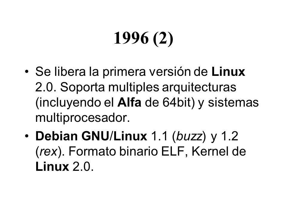 1996 (2) Se libera la primera versión de Linux 2.0. Soporta multiples arquitecturas (incluyendo el Alfa de 64bit) y sistemas multiprocesador.