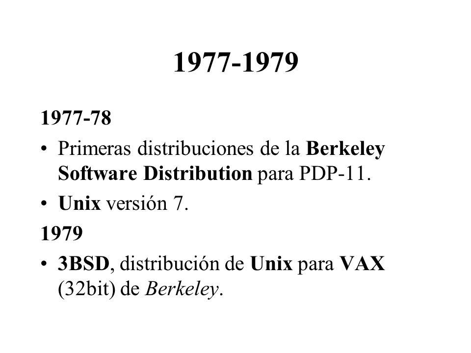 1977-1979 1977-78. Primeras distribuciones de la Berkeley Software Distribution para PDP-11. Unix versión 7.