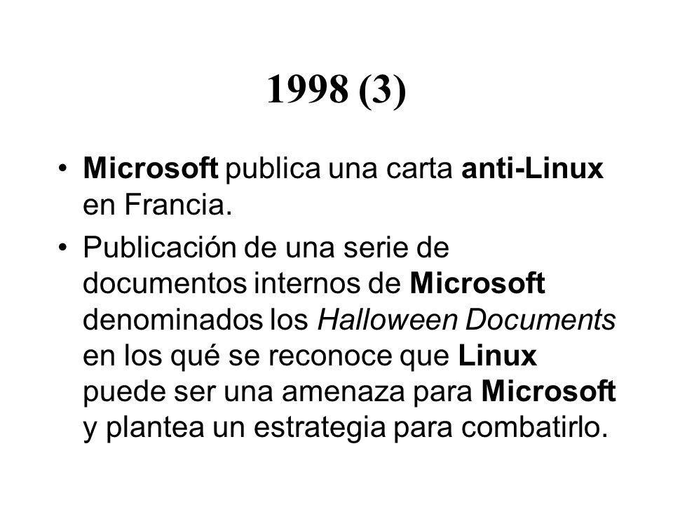 1998 (3) Microsoft publica una carta anti-Linux en Francia.