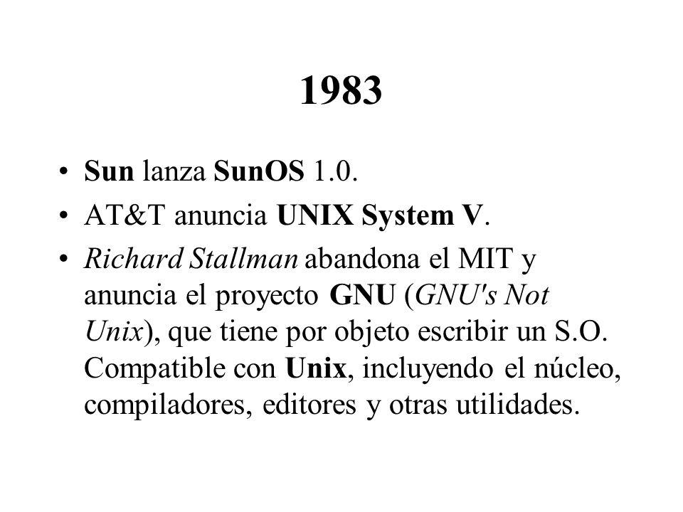 1983 Sun lanza SunOS 1.0. AT&T anuncia UNIX System V.