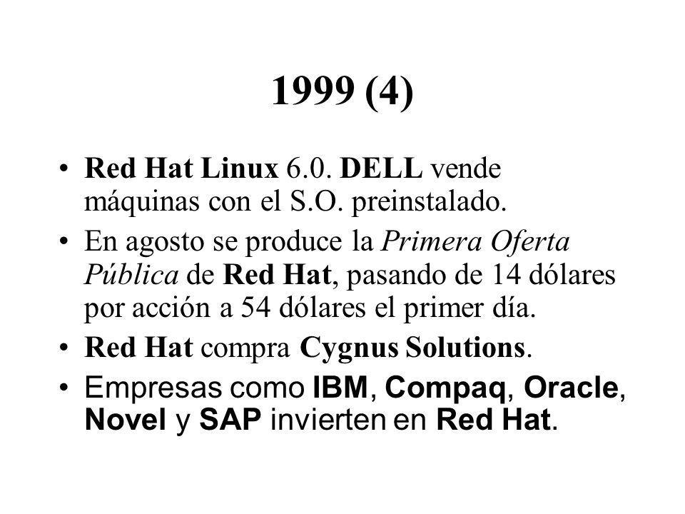 1999 (4) Red Hat Linux 6.0. DELL vende máquinas con el S.O. preinstalado.