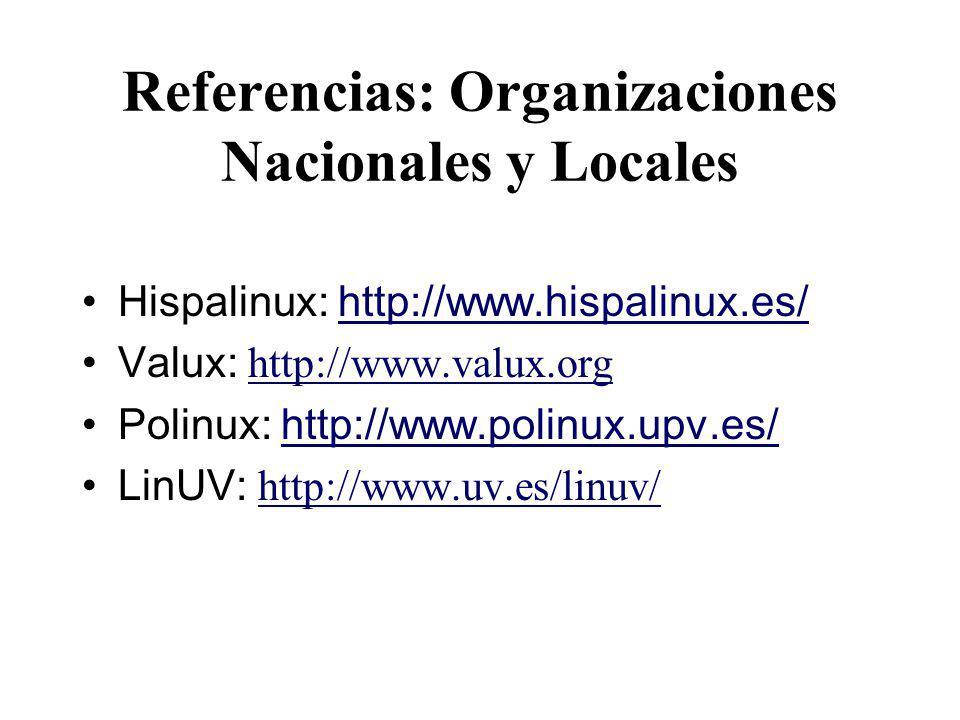 Referencias: Organizaciones Nacionales y Locales