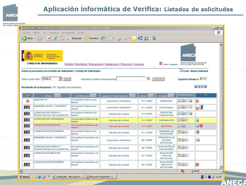 Aplicación informática de Verifica: Listados de solicitudes