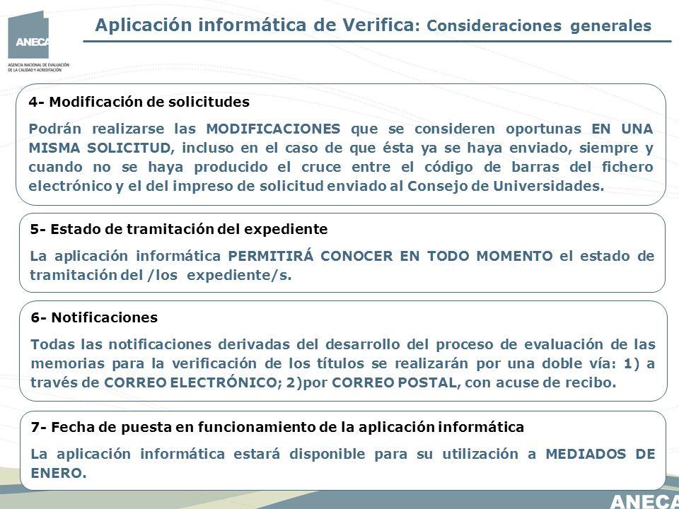 Aplicación informática de Verifica: Consideraciones generales
