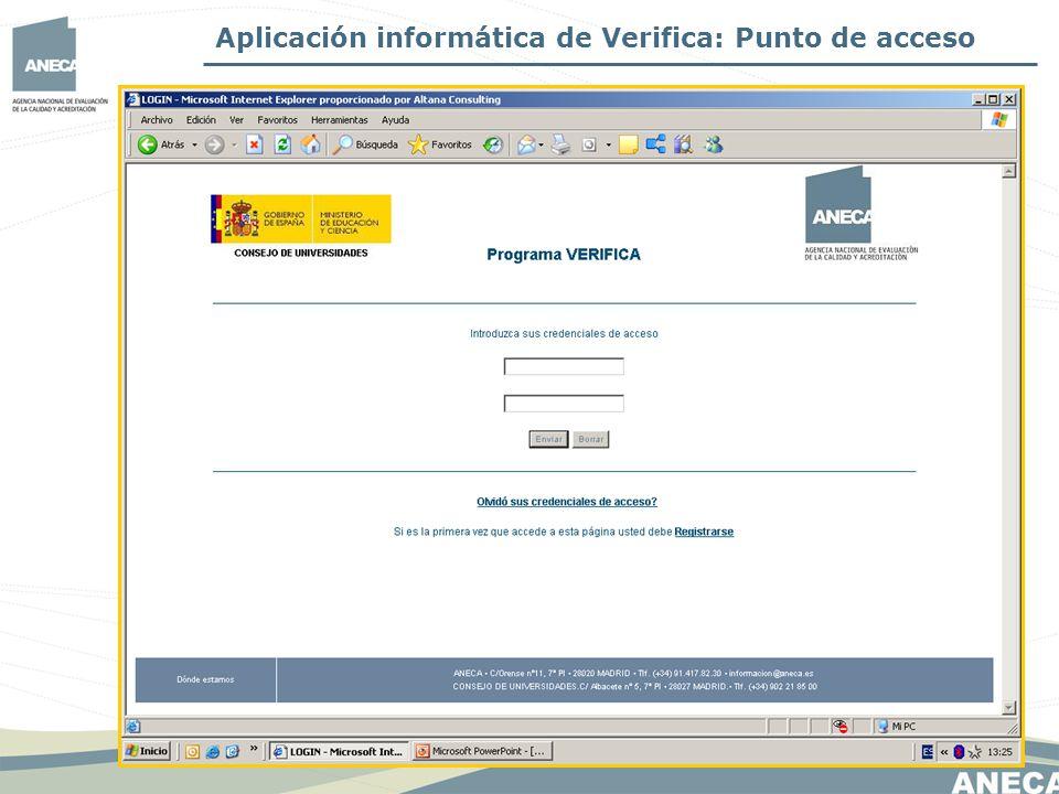 Aplicación informática de Verifica: Punto de acceso