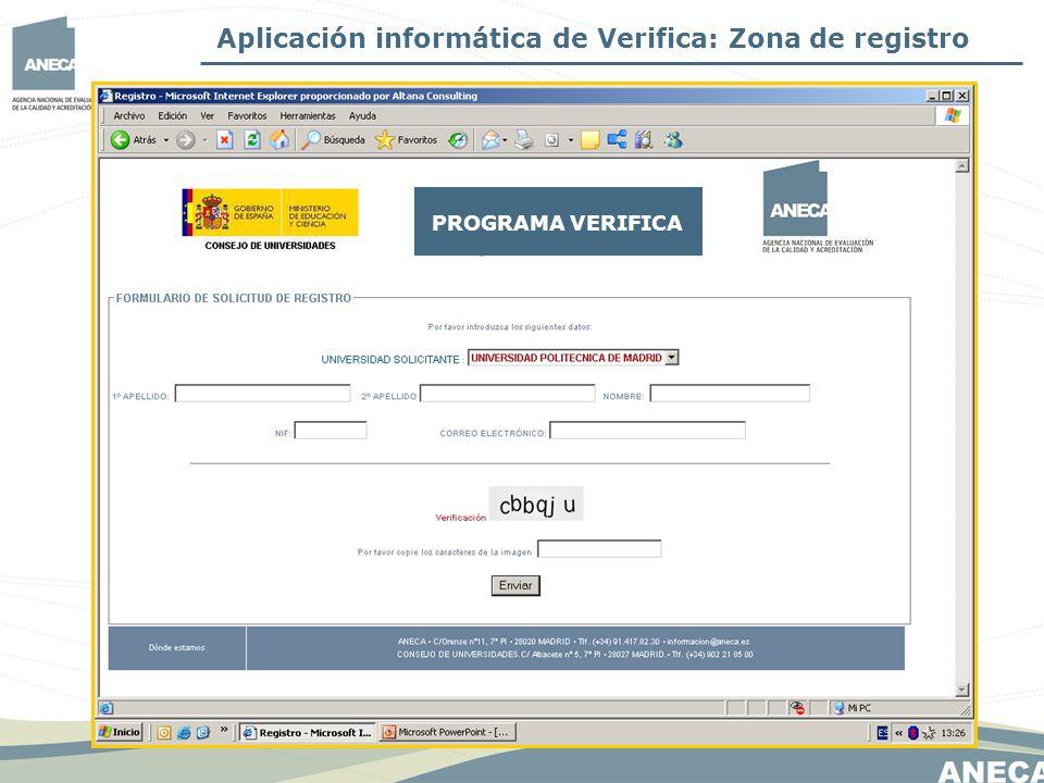 Aplicación informática de Verifica: Zona de registro
