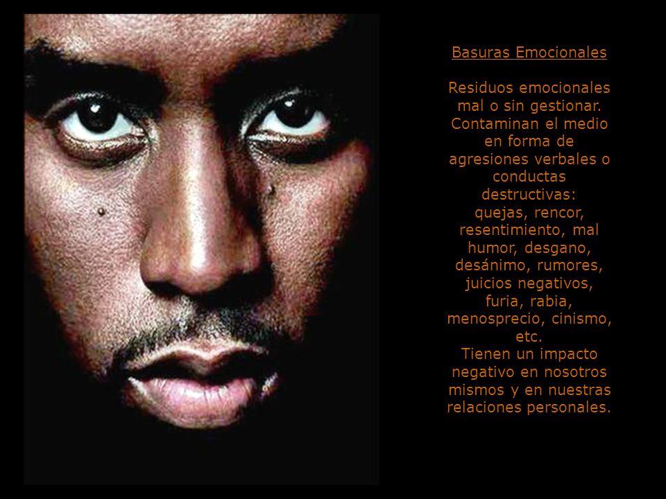 Basuras Emocionales Residuos emocionales mal o sin gestionar. Contaminan el medio en forma de agresiones verbales o conductas destructivas: