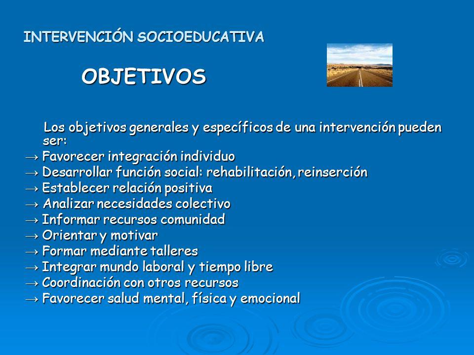 INTERVENCIÓN SOCIOEDUCATIVA OBJETIVOS