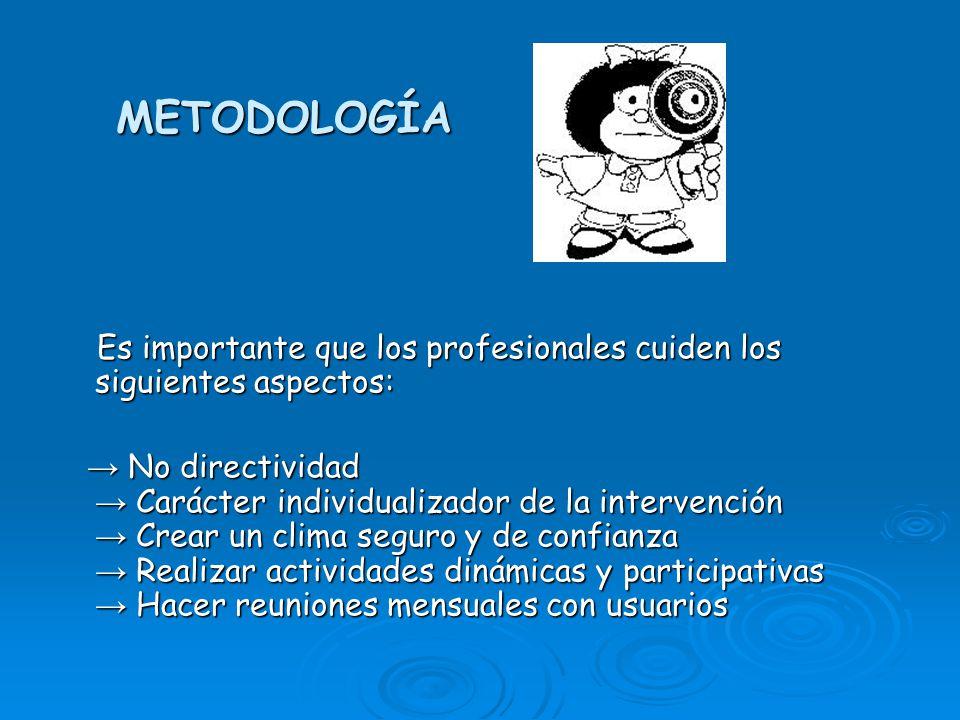 METODOLOGÍA Es importante que los profesionales cuiden los siguientes aspectos: