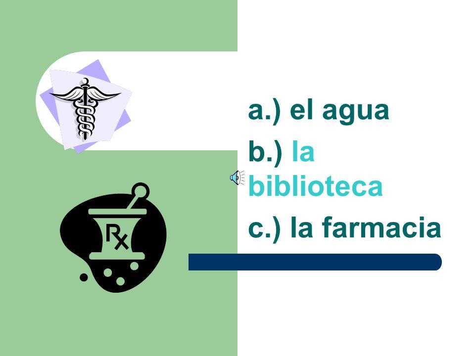 a.) el agua b.) la biblioteca c.) la farmacia