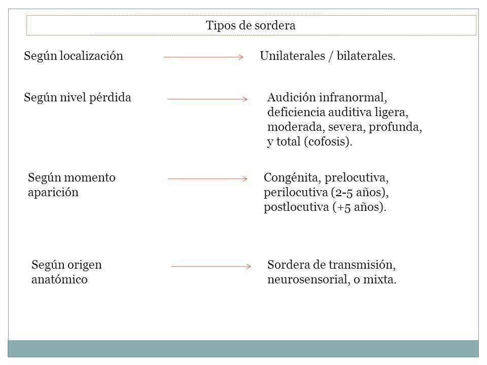 Tipos de sordera Según localización. Unilaterales / bilaterales. Según nivel pérdida.