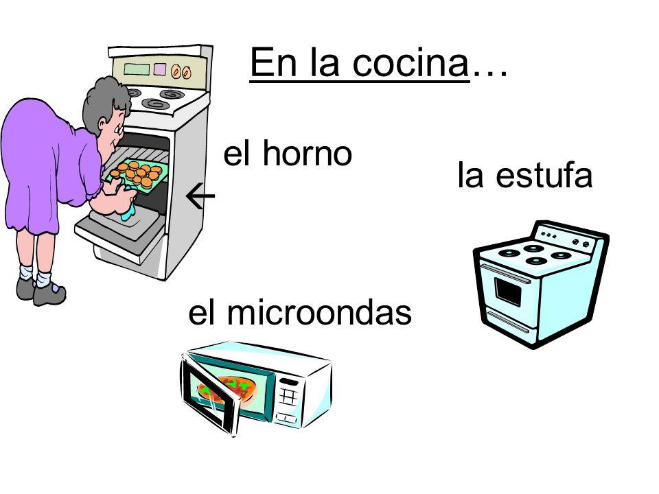 En la cocina… horno el horno  la estufa el microondas