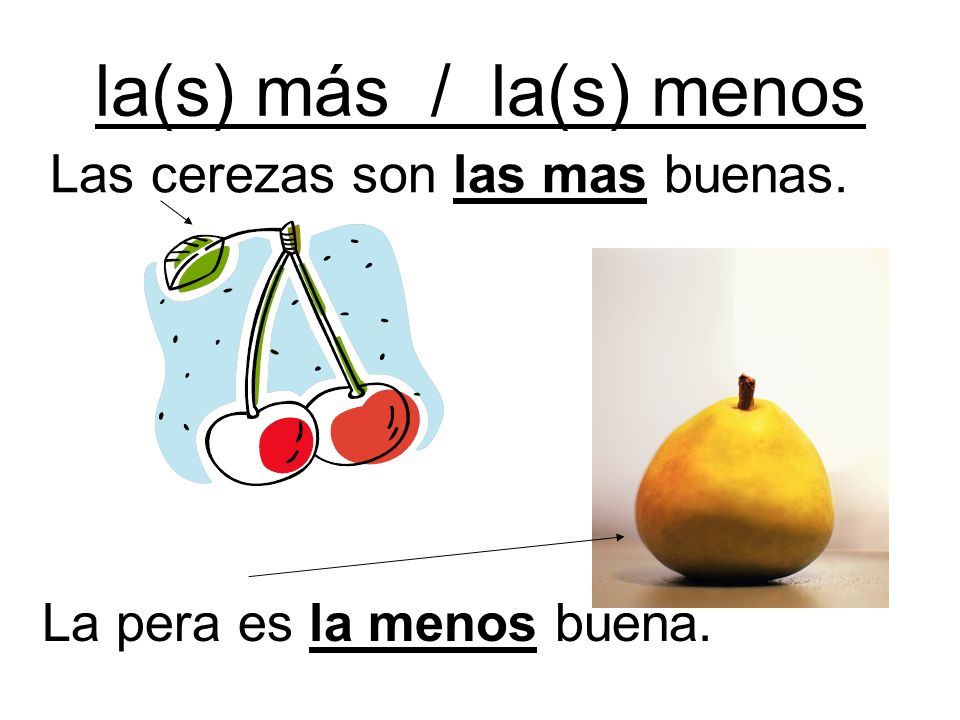 la(s) más / la(s) menos Las cerezas son las mas buenas.