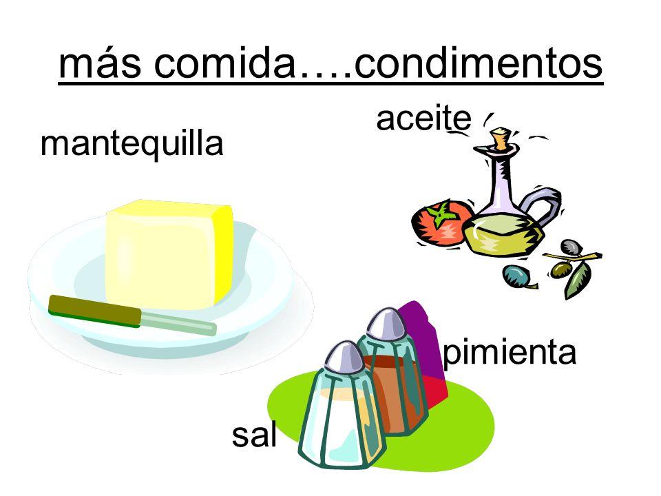 más comida….condimentos