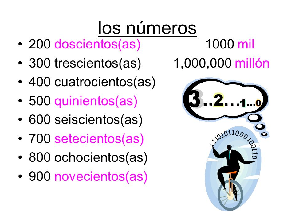 los números 200 doscientos(as) 1000 mil