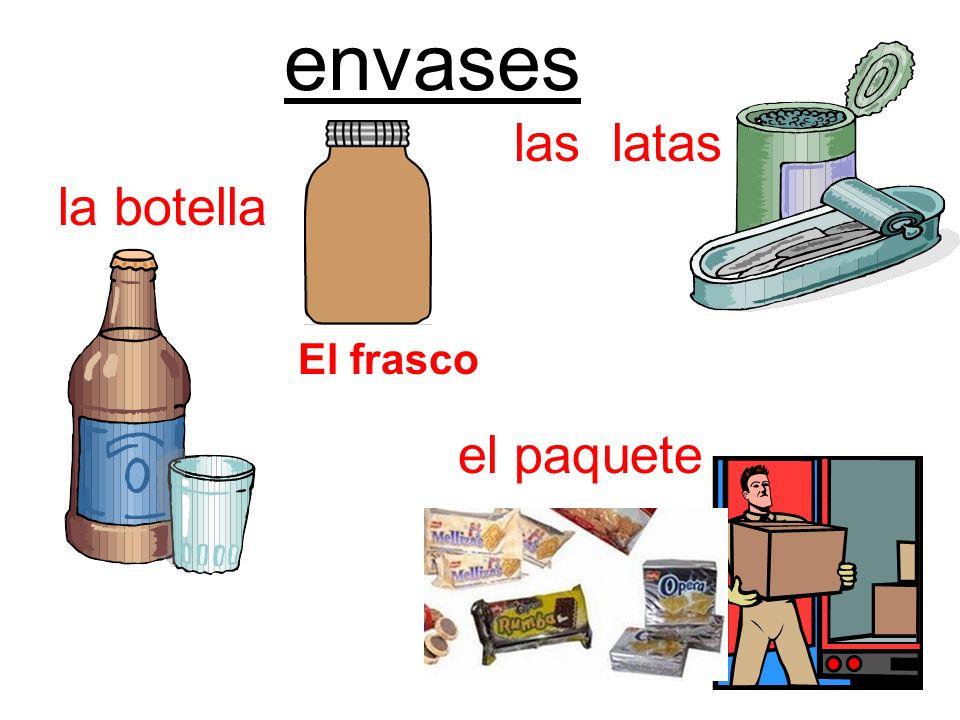 envases las latas la botella El frasco el paquete