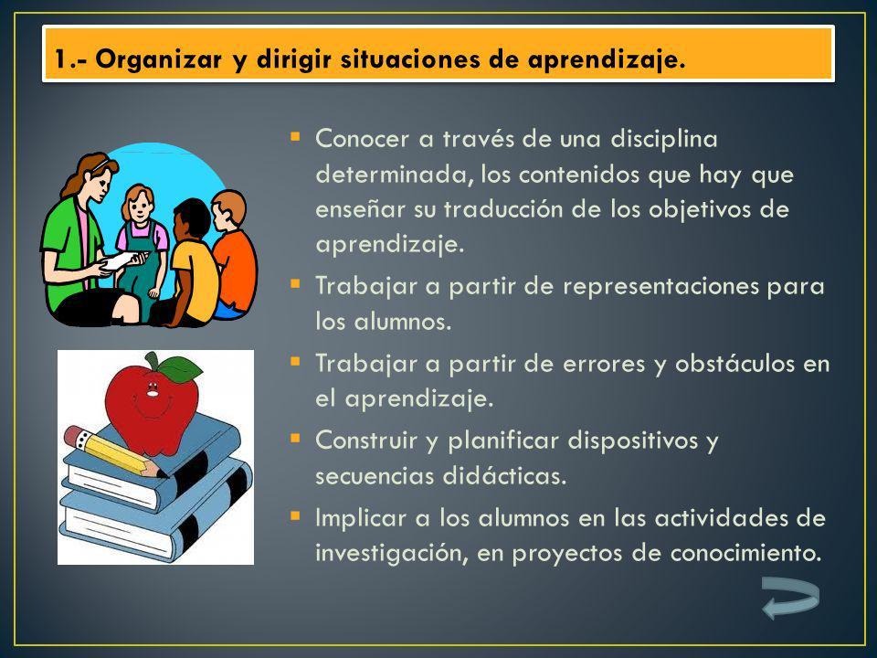 1.- Organizar y dirigir situaciones de aprendizaje.