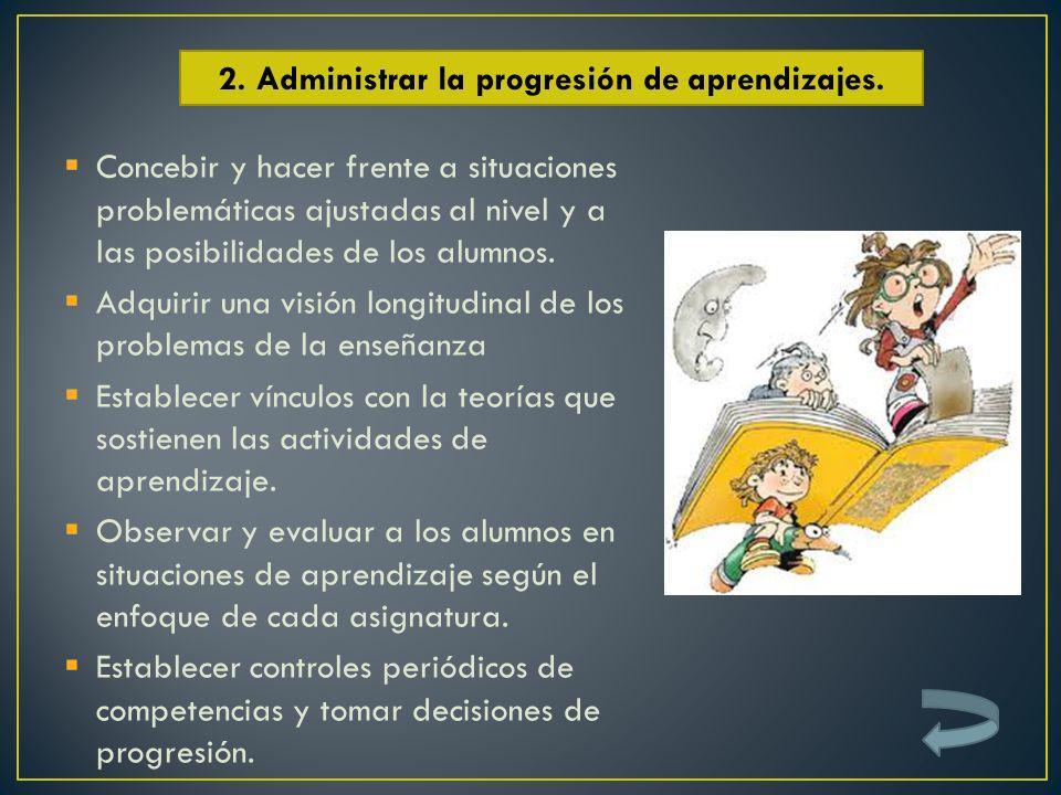 2. Administrar la progresión de aprendizajes.