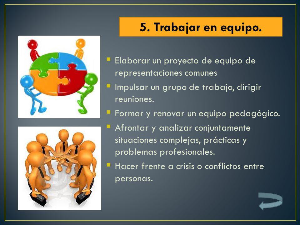 5. Trabajar en equipo.Elaborar un proyecto de equipo de representaciones comunes. Impulsar un grupo de trabajo, dirigir reuniones.