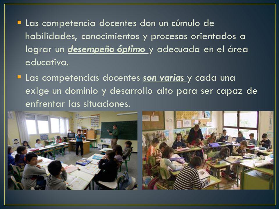 Las competencia docentes don un cúmulo de habilidades, conocimientos y procesos orientados a lograr un desempeño óptimo y adecuado en el área educativa.