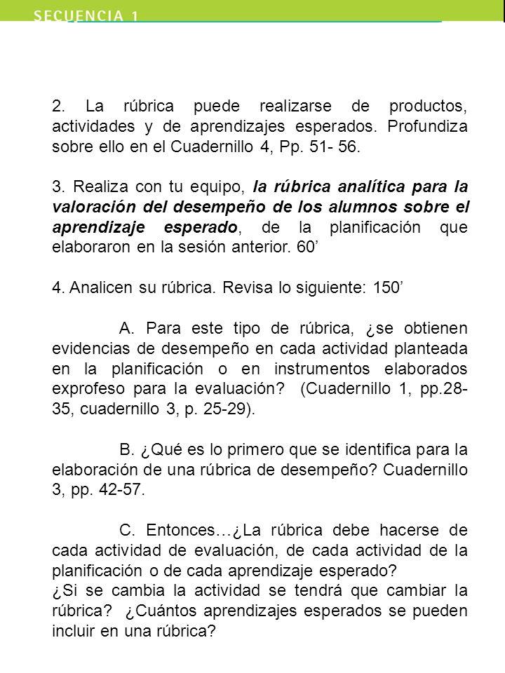 2. La rúbrica puede realizarse de productos, actividades y de aprendizajes esperados. Profundiza sobre ello en el Cuadernillo 4, Pp. 51- 56.