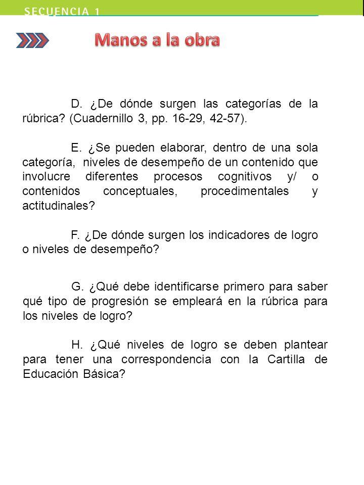 Manos a la obra D. ¿De dónde surgen las categorías de la rúbrica (Cuadernillo 3, pp. 16-29, 42-57).