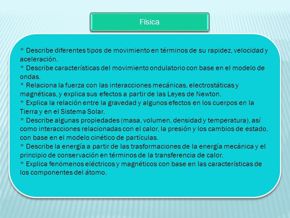 Física * Describe diferentes tipos de movimiento en términos de su rapidez, velocidad y aceleración.