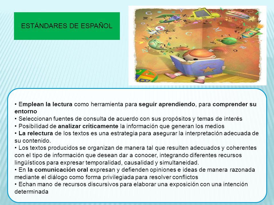 ESTÁNDARES DE ESPAÑOL Emplean la lectura como herramienta para seguir aprendiendo, para comprender su entorno.