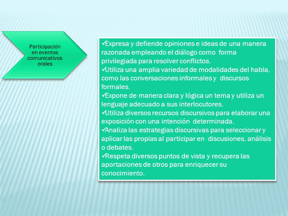 Participación en eventos comunicativos orales