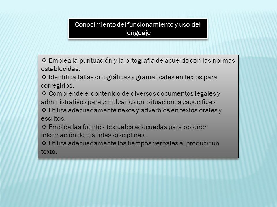 Conocimiento del funcionamiento y uso del lenguaje