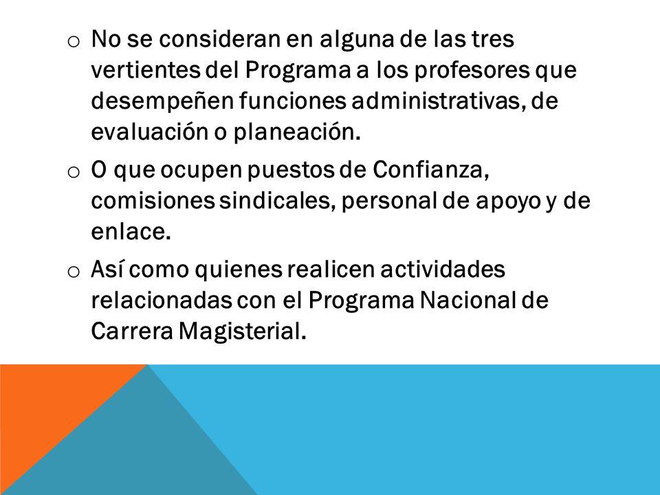 No se consideran en alguna de las tres vertientes del Programa a los profesores que desempeñen funciones administrativas, de evaluación o planeación.