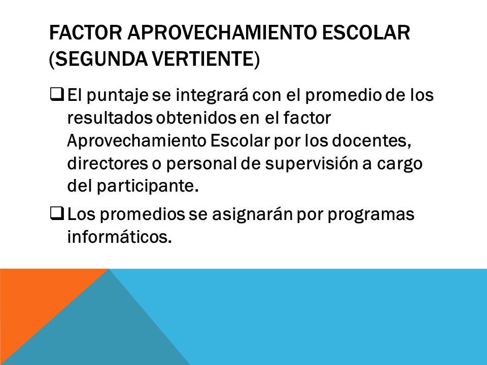 FACTOR APROVECHAMIENTO ESCOLAR (SEGUNDA VERTIENTE)