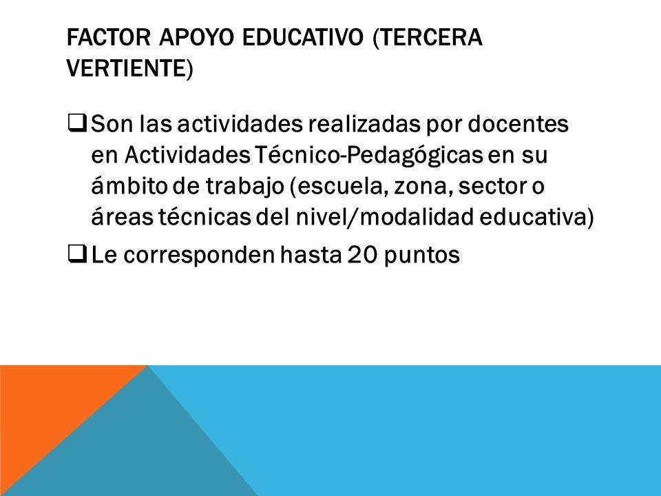 Factor apoyo educativo (tercera vertiente)