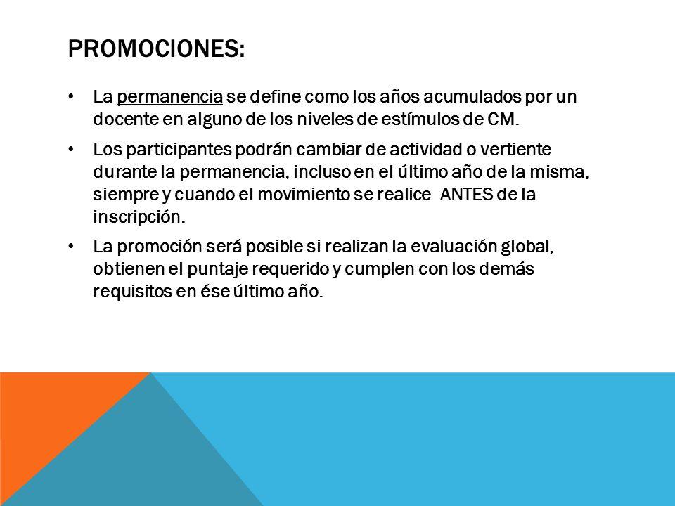 PROMOCIONES:La permanencia se define como los años acumulados por un docente en alguno de los niveles de estímulos de CM.