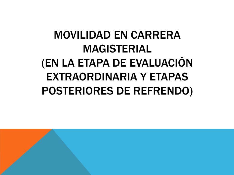 MOVILIDAD EN CARRERA MAGISTERIAL (En la etapa de evaluación extraordinaria y etapas posteriores de refrendo)