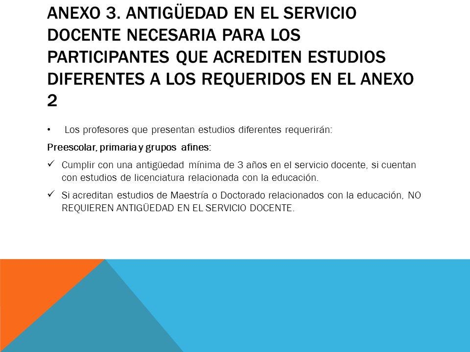 ANEXO 3. ANTIGÜEDAD EN EL SERVICIO DOCENTE NECESARIA PARA LOS PARTICIPANTES QUE ACREDITEN ESTUDIOS DIFERENTES A LOS REQUERIDOS EN EL ANEXO 2