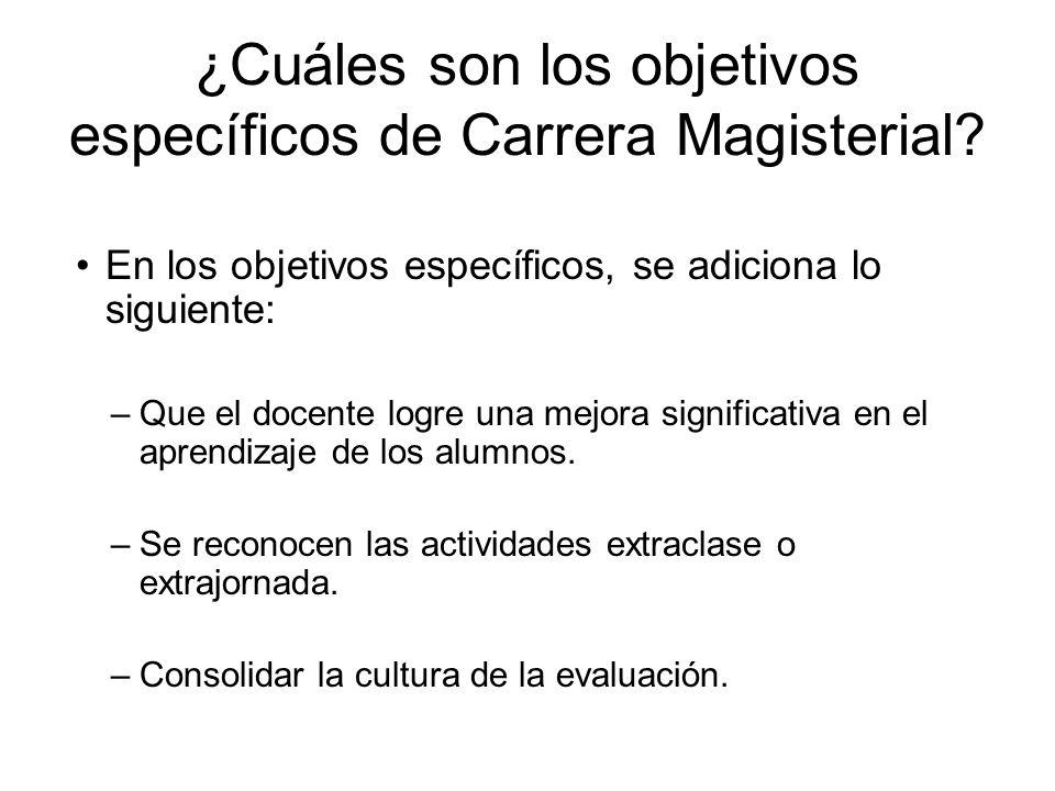 ¿Cuáles son los objetivos específicos de Carrera Magisterial
