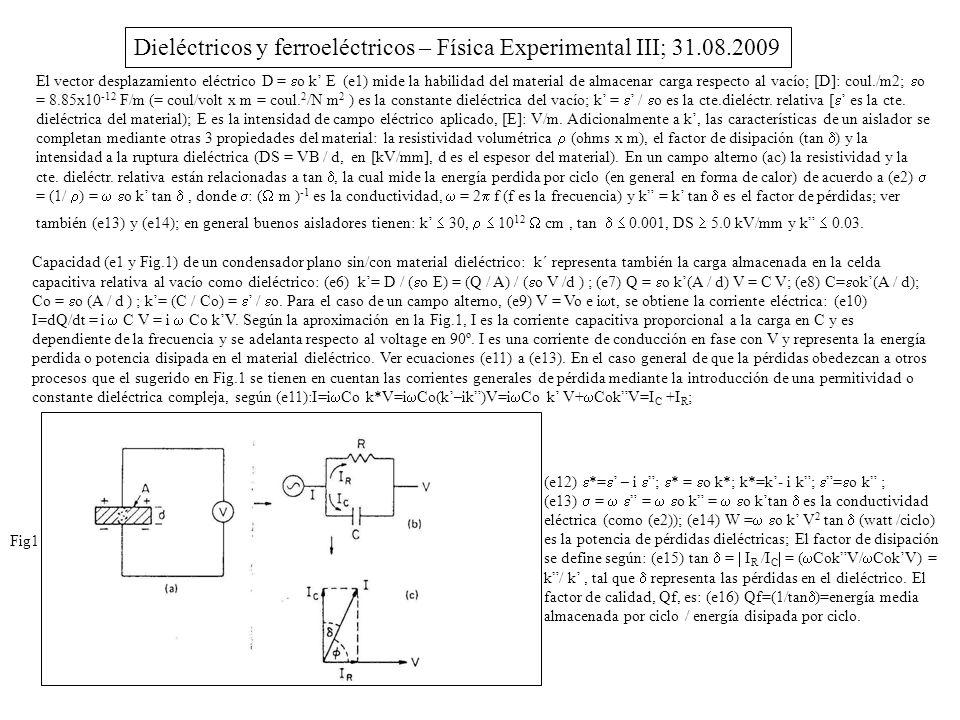 Dieléctricos y ferroeléctricos – Física Experimental III; 31.08.2009