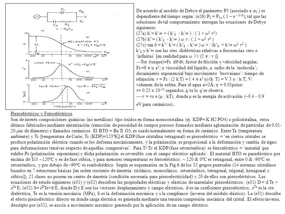 De acuerdo al modelo de Debye el parámetro P3 (asociado a 3 ) es dependiente del tiempo según: (e26) P3 = P3o ( 1 – e - (t/)), tal que las soluciones de tal comportamiento entregan las ecuaciones de Debye siguientes: