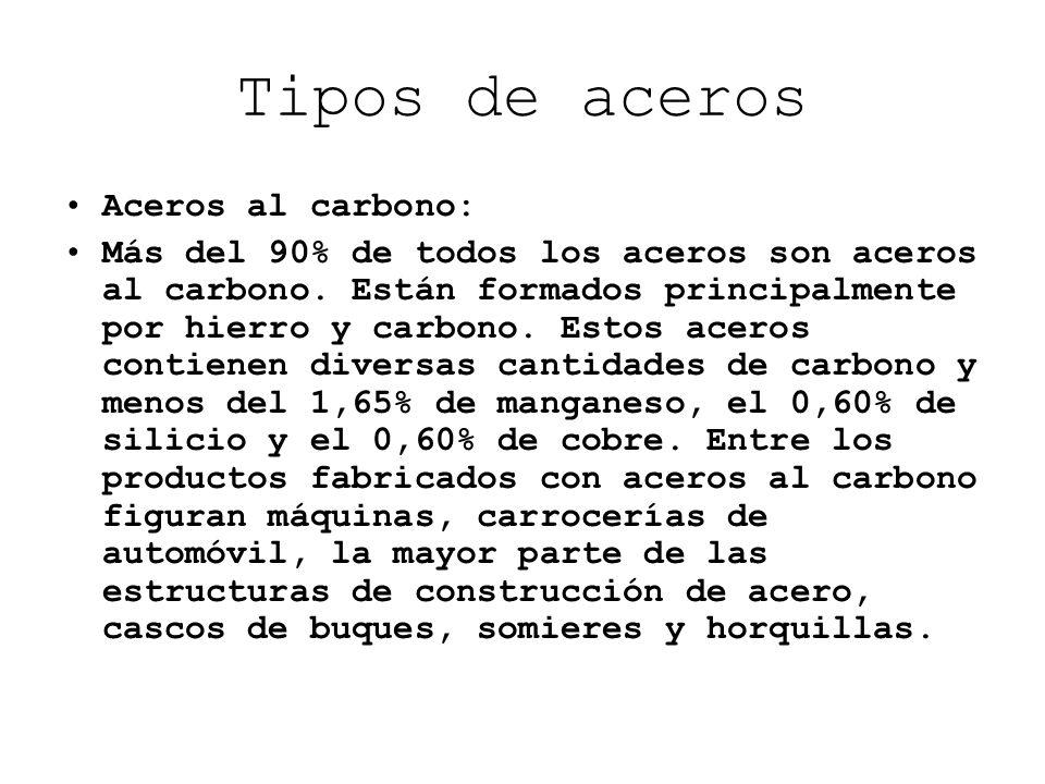 Tipos de aceros Aceros al carbono: