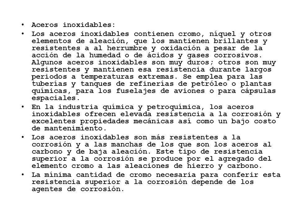 Aceros inoxidables: