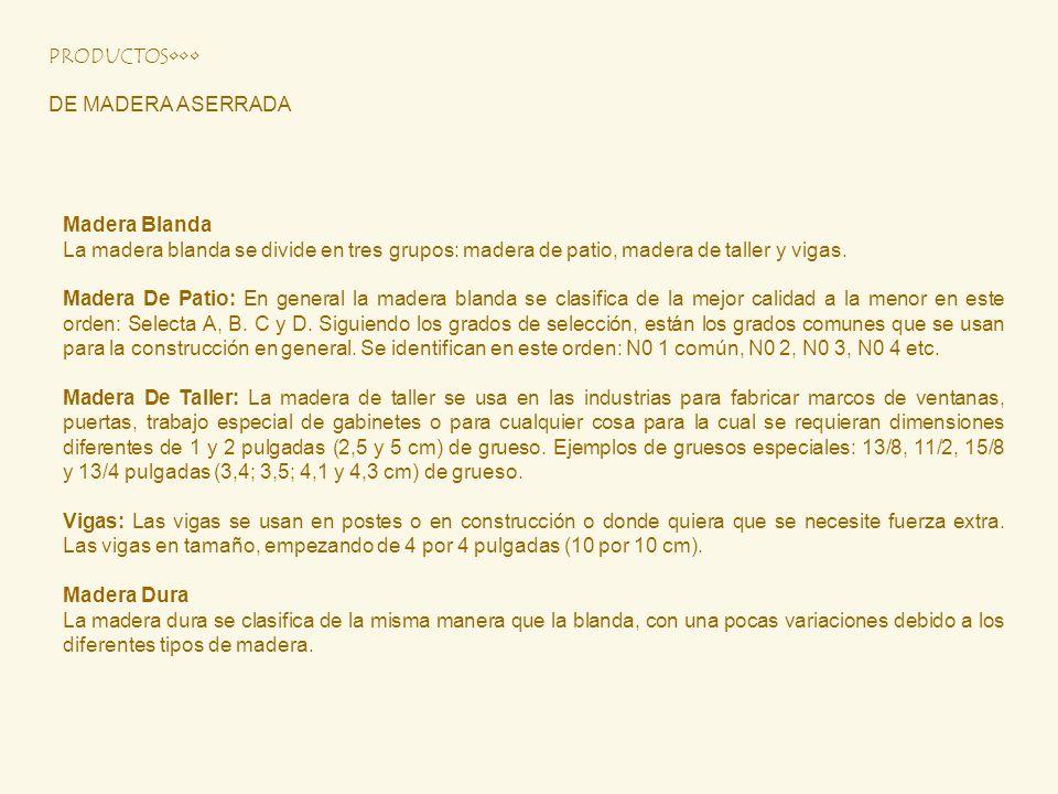 PRODUCTOS•••DE MADERA ASERRADA. Madera Blanda. La madera blanda se divide en tres grupos: madera de patio, madera de taller y vigas.