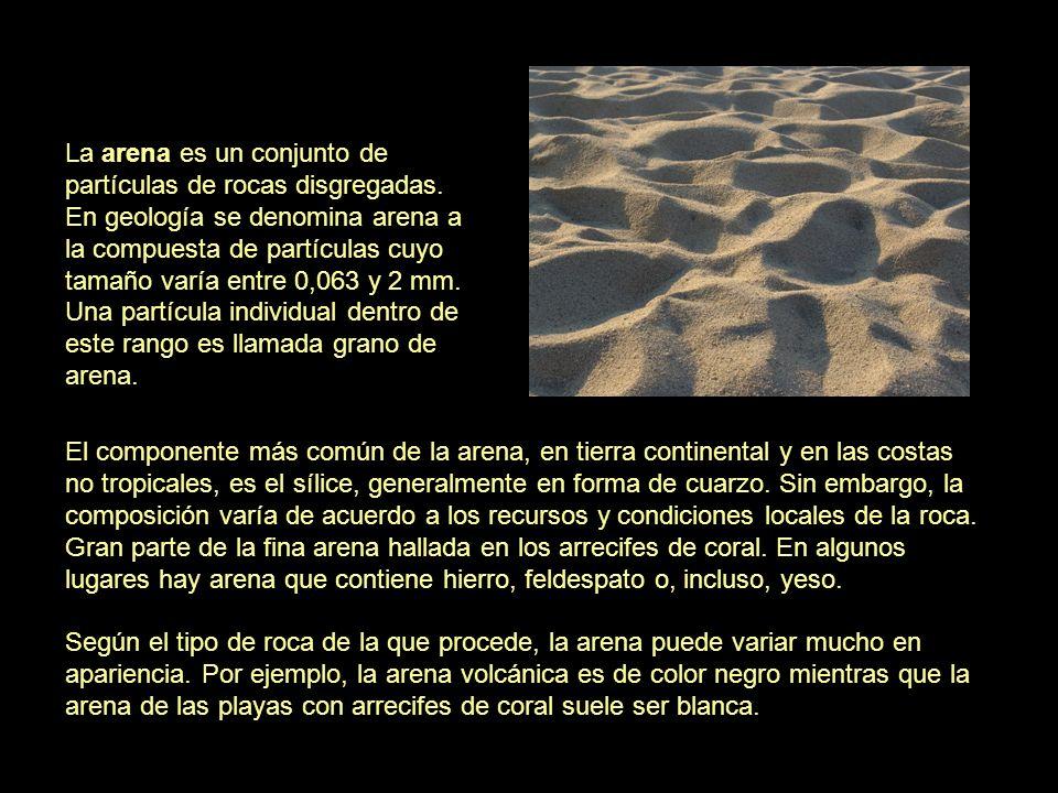 La arena es un conjunto de partículas de rocas disgregadas