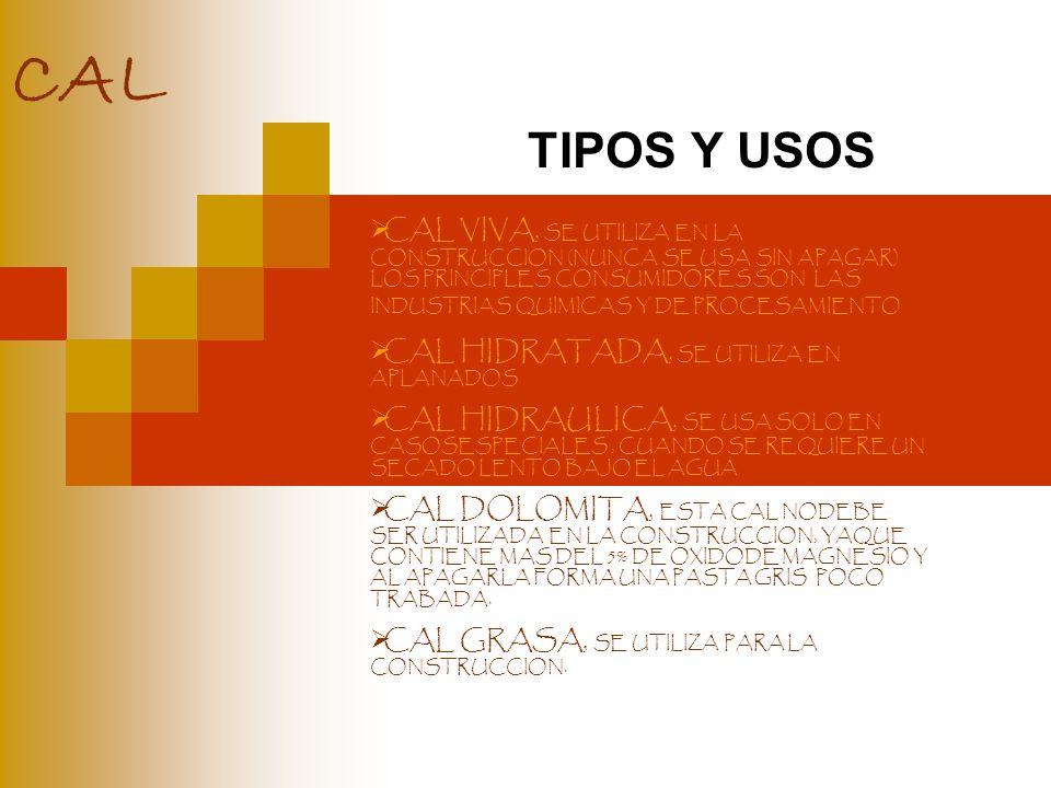 CAL TIPOS Y USOS.